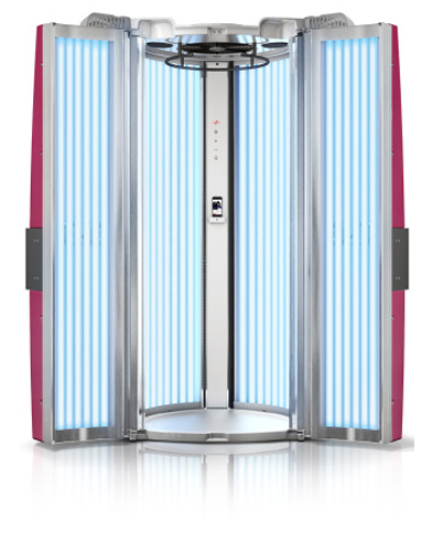 Solarium Hapro Luxura V6 ouvert pink